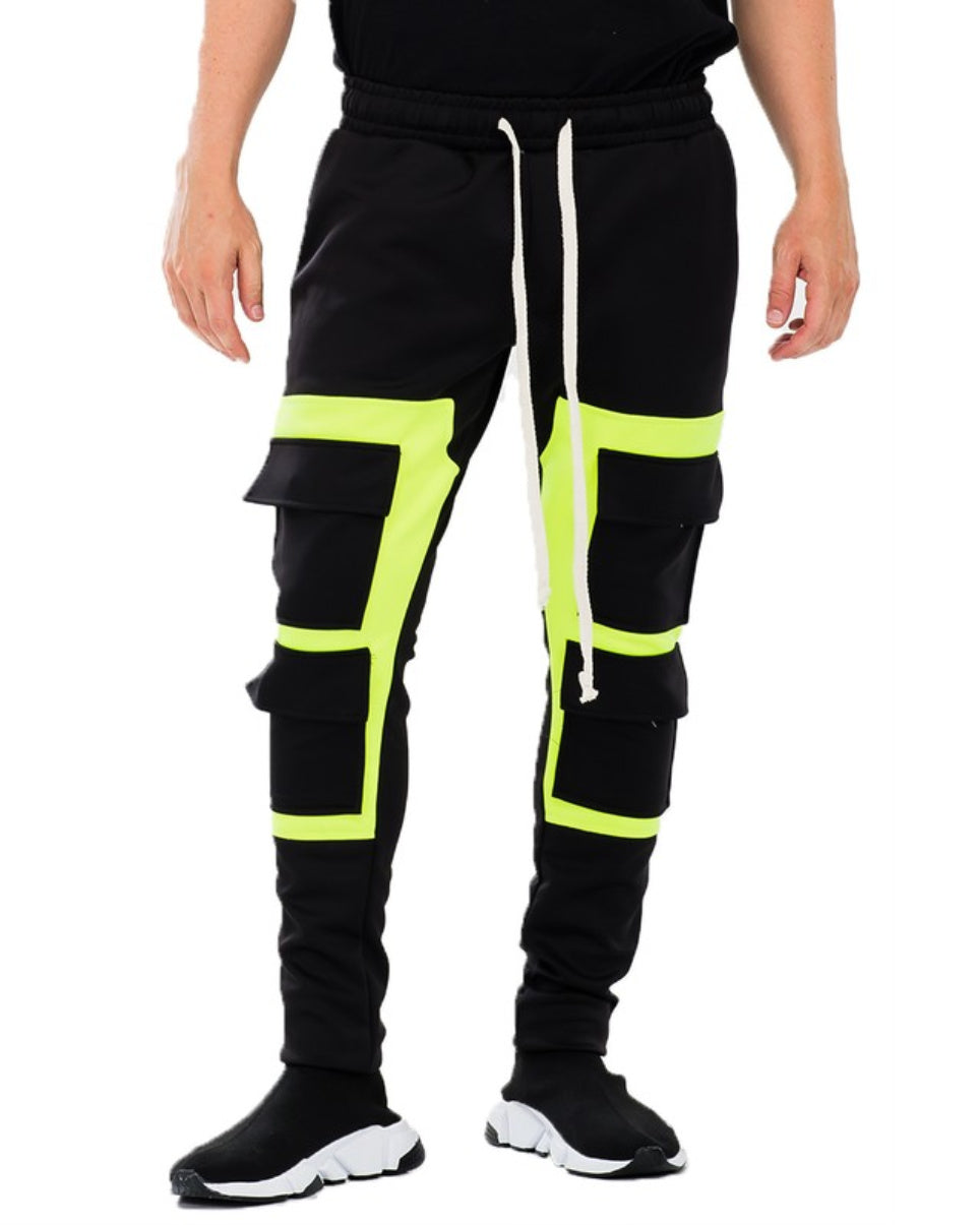 Acid Yellow Block Joggers