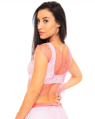 Neon Rhinestone Sheer Crop Top ( Available in 3 Colors )