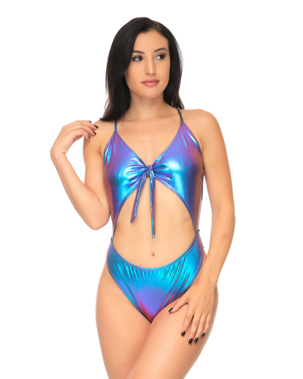 Mystic Neptune Front Tie Cheeky Cutout Bodysuit