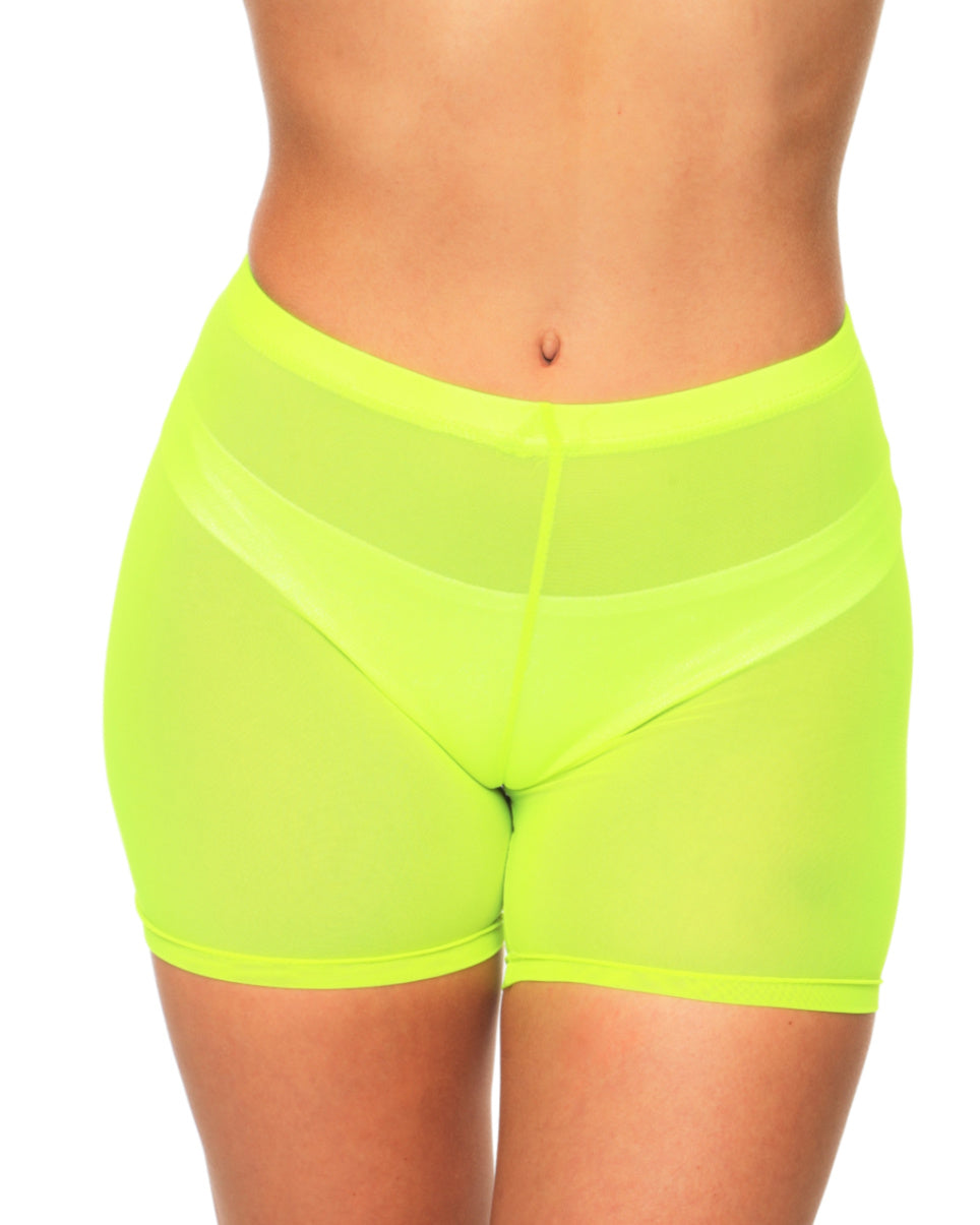Let's Get Physical Neon Sheer Biker Shorts