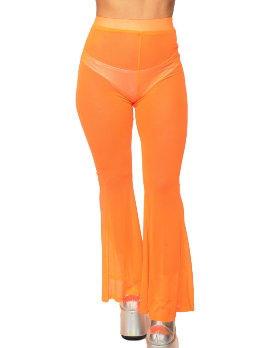 Neon Groove Sheer Mesh Bell Bottoms (Available In 3 Colors)