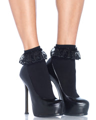 Black Anklet Ruffle Sock With Lace