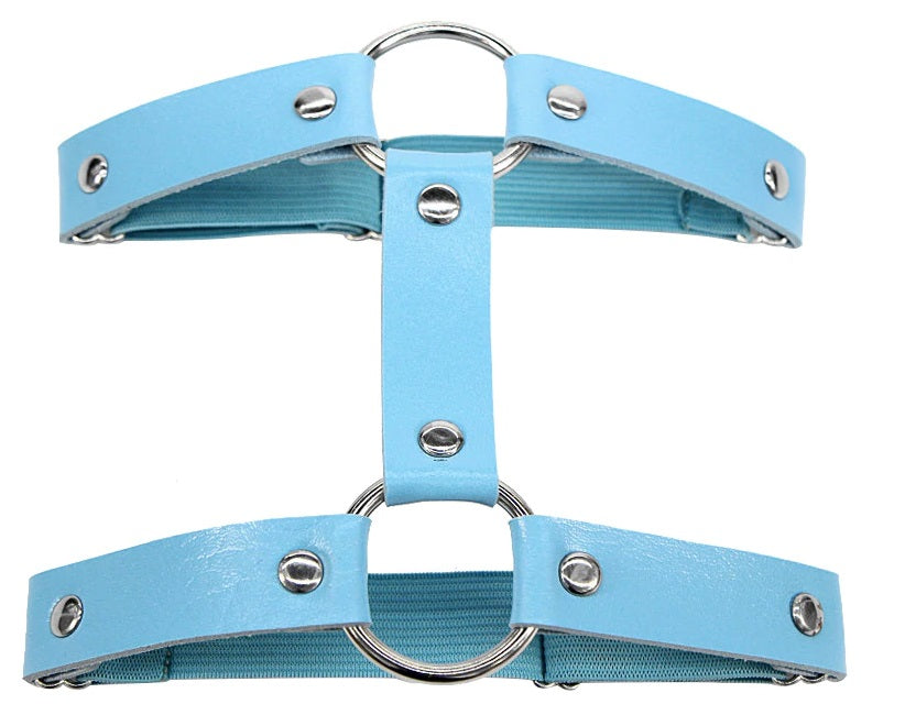 1pc Miss Behaved Dual-Strap Faux Leather O-Ring Leg Garter (Available In 4 Colors)