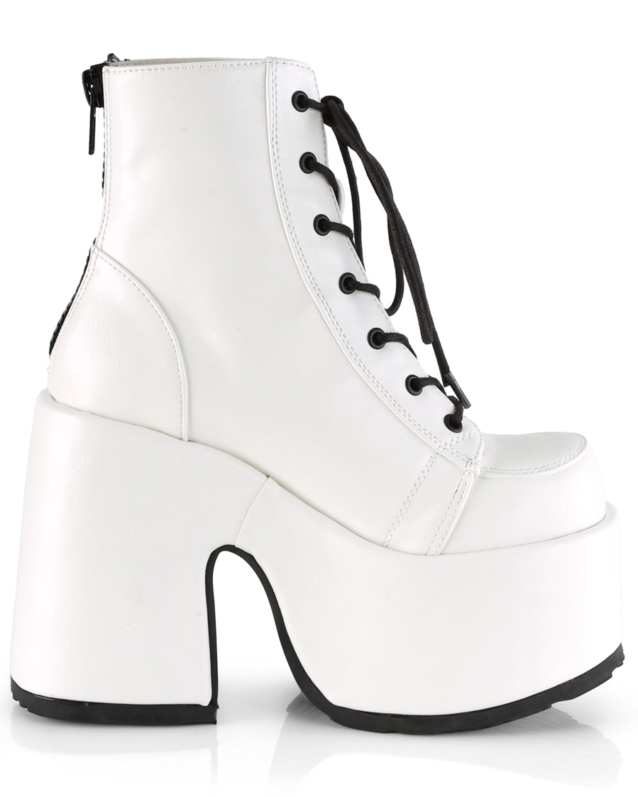 Demonia Chunky White Vegan Leather Lace-Up Platform Ankle Boots