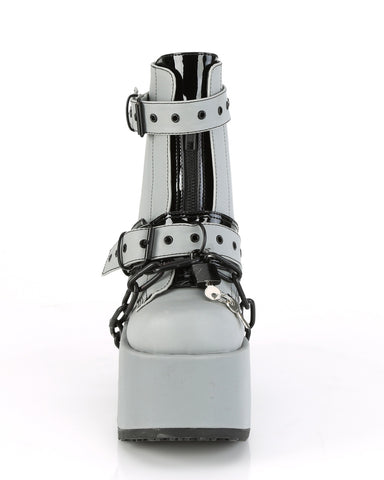 Demonia Lock and Chain Reflective Heel Boots