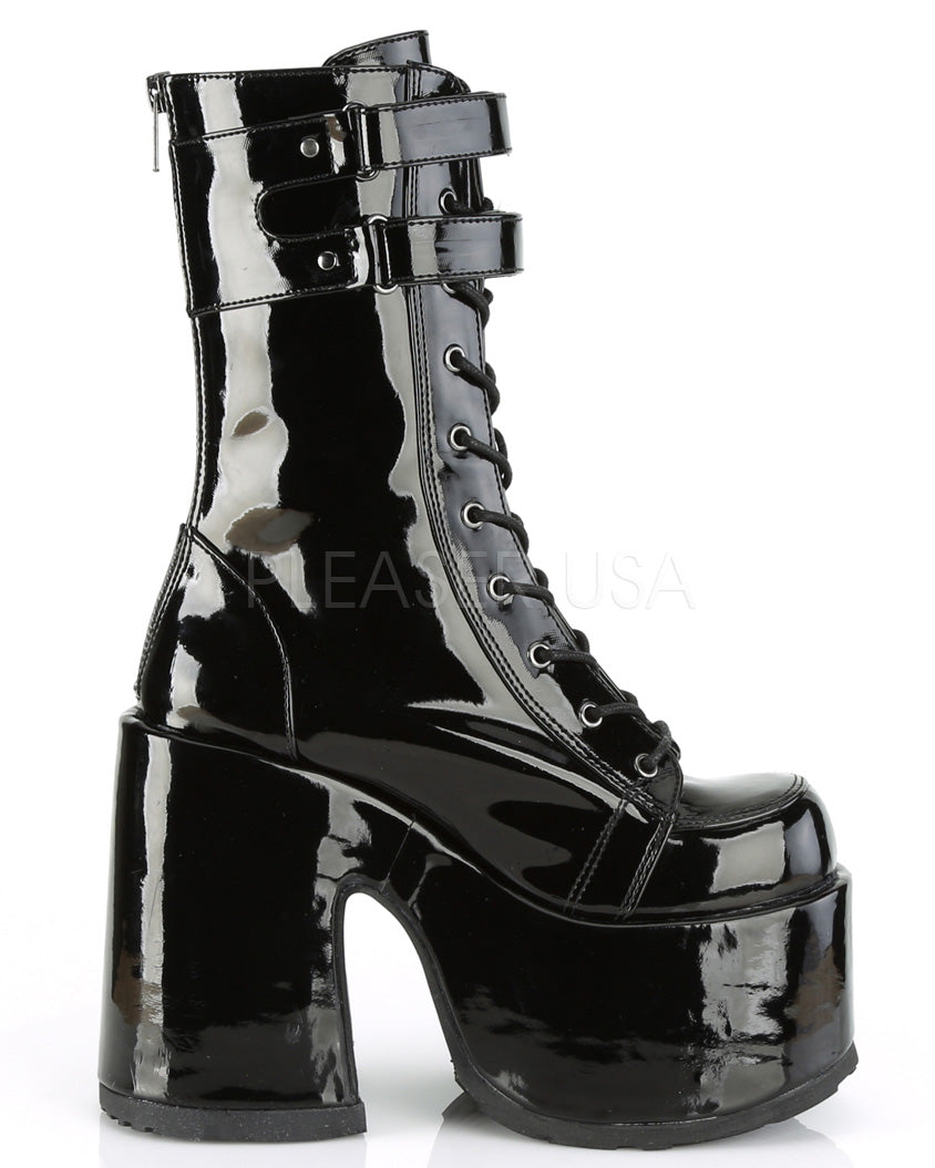 Hook 'n Loop Black Patent Mid-Calf Platform Boots