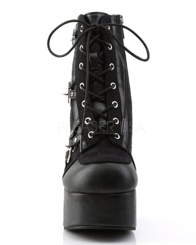 Spiky Studded Lace-Up Ankle Boot