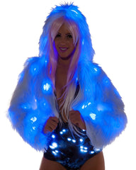 White Furry Blue LED Cropped Hooded Rave Jacket -  rave wear, rave outfits, edc, booty shorts