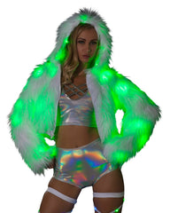 White Furry Green LED Cropped Hooded Rave Jacket -  rave wear, rave outfits, edc, booty shorts