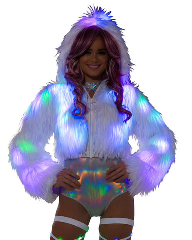 White Furry Multi LED Cropped Hooded Rave Jacket -  rave wear, rave outfits, edc, booty shorts