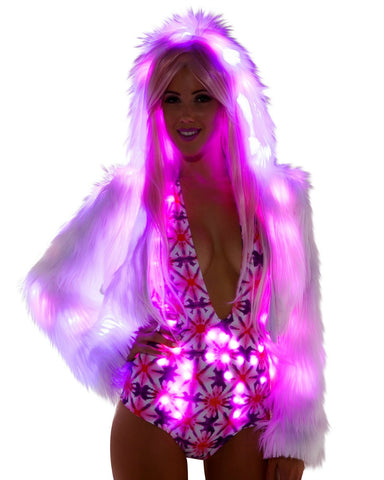 White Furry Pink LED Cropped Hooded Rave Jacket -  rave wear, rave outfits, edc, booty shorts