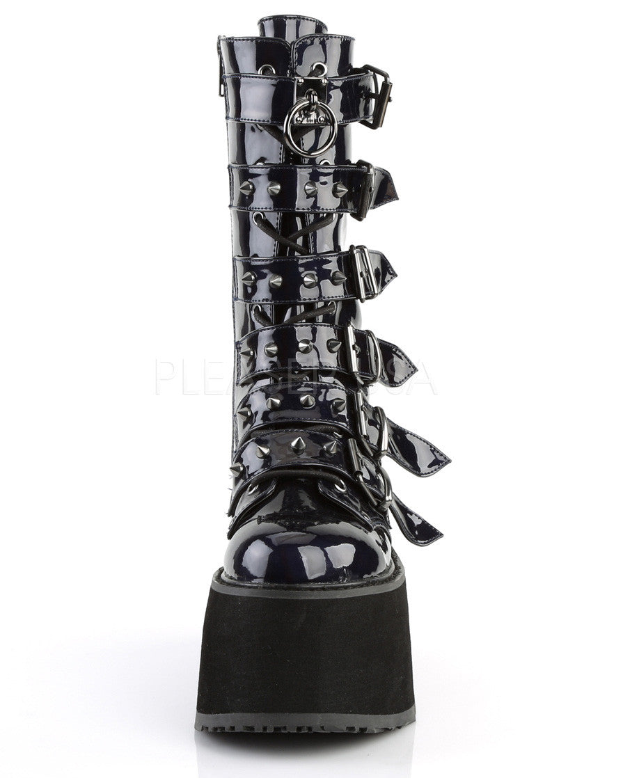 Black Holographic Studded Mid-Calf Platform Boots -  rave wear, rave outfits, edc, booty shorts