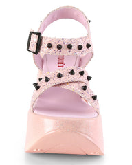 Demonia Baby Pink Star Platform Wedge Sandals