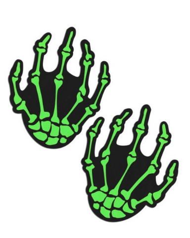 Boney Skeleton Hands Blacklight Reactive Nipple Pasties