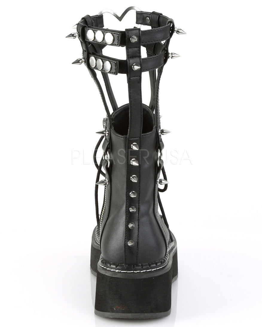 Caged Platform Boots with Cone Spikes & Heart Ring Detail -  rave wear, rave outfits, edc, booty shorts