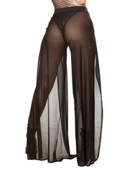 Black Mesh Open Front Gypsy Pants