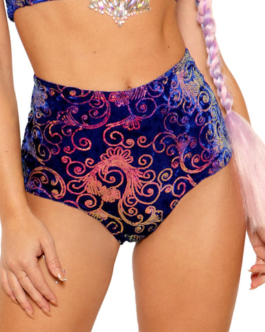 Prism Velvet Sequin High Waist Rave Bottoms