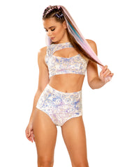 Prism Velvet Sequin Rave Crop Top