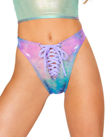 Holographic Lace Up High Cut Rave Bottoms