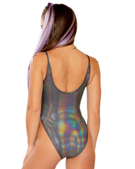 Metallic Shine Spaghetti Strap High Cut Rave Bodysuit