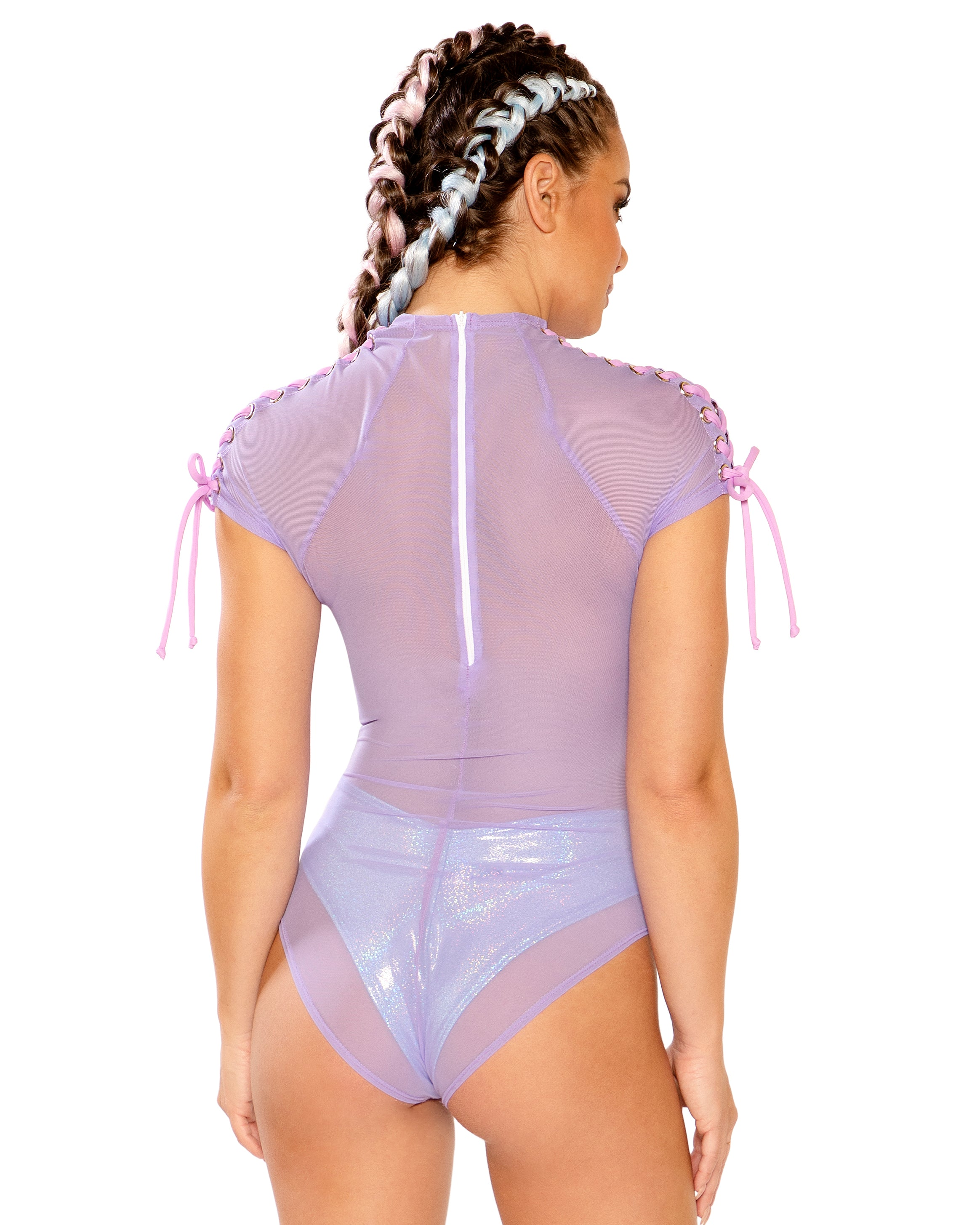 Tie Me Up Lace-Up Shoulder w/ Grommets Mesh Rave Bodysuit