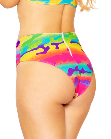 Neon Camouflage Higher Waist Shorts