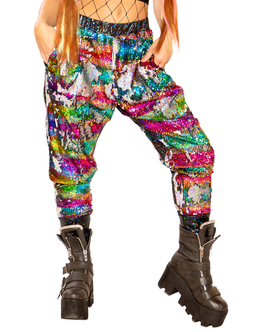 Silver Rainbow Flip Sequin Joggers