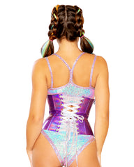 Holographic Snake Lace-Up Corset