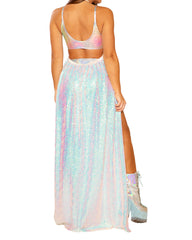 Shimmer Iridescent Harness Gypsy Long Skirt