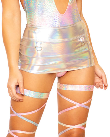 Silver Holo Foil A-Line Skirt with D-Rings