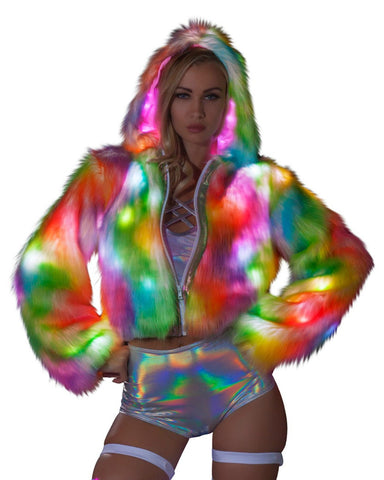 Rainbow Light-Up Sherbert Cropped Rave Coat -  rave wear, rave outfits, edc, booty shorts