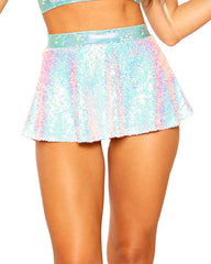 Sequin Band Rave Skater Skirt
