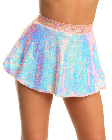 Sequin Band Skater Skirt
