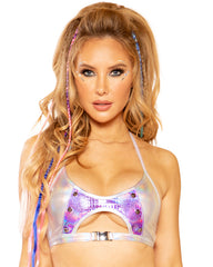 Two-Tone Reptile Cutout Halter Crop Top