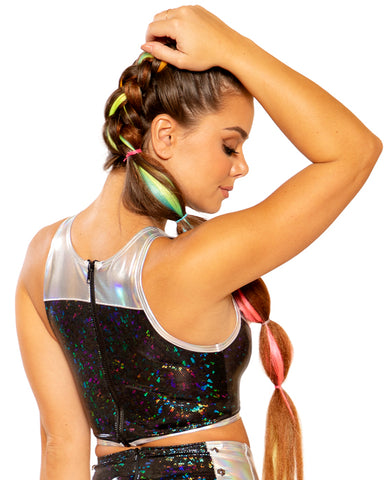 Foil Deep Cut Bolted Halter Rave Crop Top