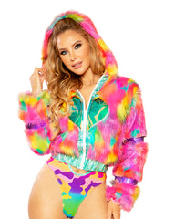 Multicolor Fur Heart Window Jacket