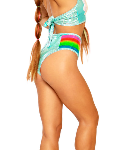 Rainbow Vinyl Sequin Cloud Mesh Shorts