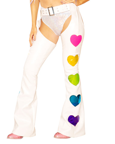 White and Rainbow Vinyl Heart Chaps