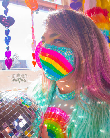 HANDMADE TO ORDER: Rainbow Cloud Metallic Tailored Face Mask
