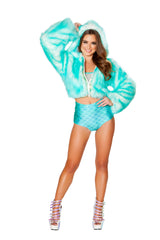 LED Aqua Cropped Faux Fur Rave Jacket