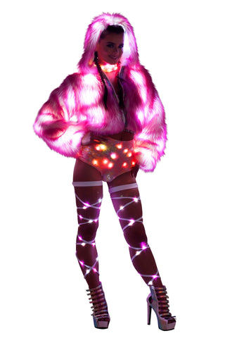 LED Pink Cropped Faux Fur Rave Jacket