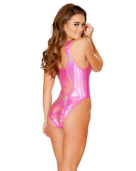 Pink Holographic Baywatch Rave Bodysuit -  rave wear, rave outfits, edc, booty shorts