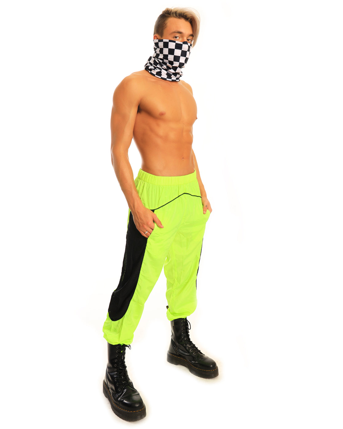 Toxic Trouble Neon Green Reflective Joggers