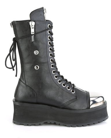 Demonia Black Lace-Up Mid Calf Boot with Chrome Toe