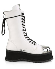 Demonia White Lace-Up Mid Calf Boot with Chrome Toe