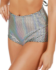 Silver Holographic Pyramids High-Waist Booty Shorts -  rave wear, rave outfits, edc, booty shorts