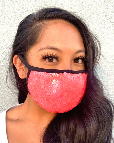 Coral Sequin Face Mask