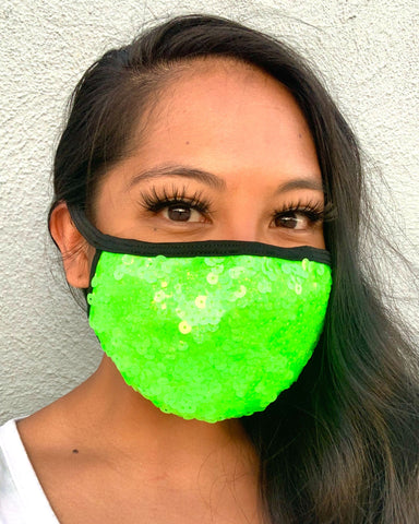 Electric Green Sequin Face Mask