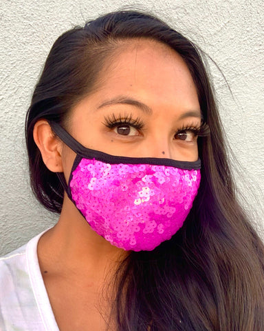 Plum Sequin Face Mask