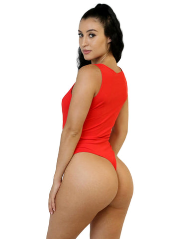 Red Zipper Thong Bodysuit